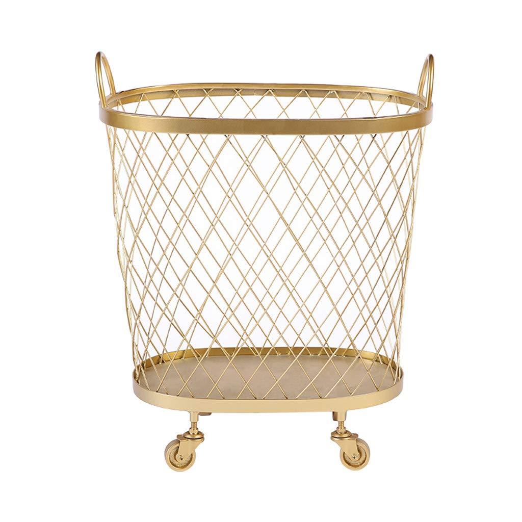 北欧の錬鉄製のキッチンのおもちゃの衣類の収納バスケットの家庭の洗濯物の家庭、ゴールド、黒 JSFQ (色 : ゴールド) B07SBY6CR1 ゴールド