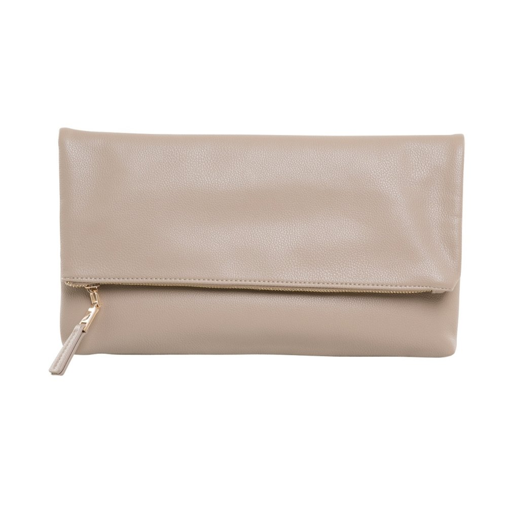 Me Plus Women Fold-over Clutch Purse Bag Oversized with Top Zipper Closure (Taupe)