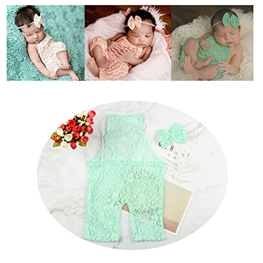 Newborn infant baby photography props girls lace bow bodysuits romper photo shoot princess clothes green
