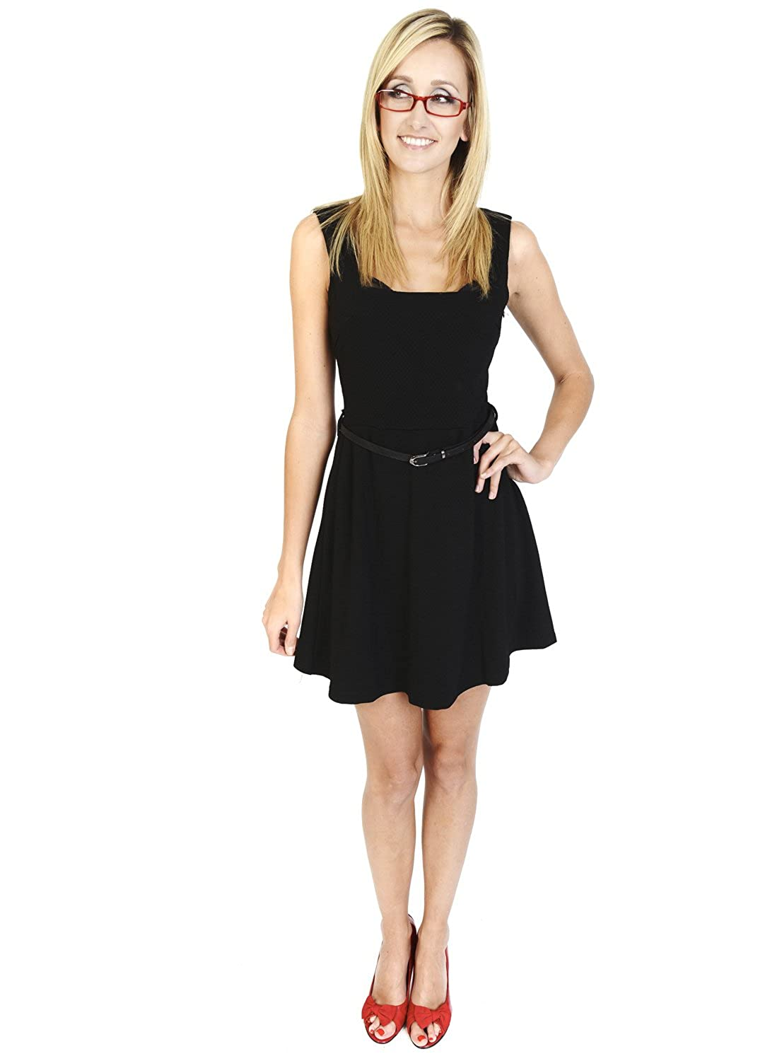Urmoda Short Sleeveless little black dress Square neckline Party, cocktail, casual Dotty Stretch Black Skater Dress