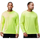 DEVOPS Men's 2 Pack UPF 50+ Sun Protection Long Sleeve Dri Fit Fishing Hiking Running Workout T-Shirts