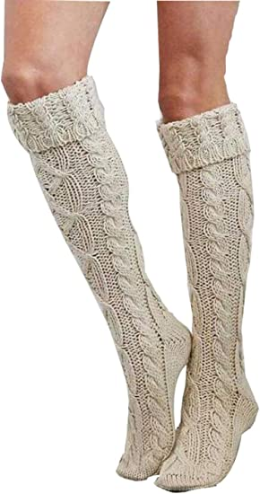 Women Winter Warm Cable Knit Over knee Long Boot Thigh-High Soft Socks Leggings
