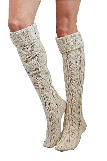 a5c30e18484 Womens Winter Cable Knit Over Knee Long Boot Thigh-High Warm Socks Leggings  (Creamy-white) at Amazon Women s Clothing store