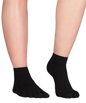 Knitido Naturals Leinen - calcetines tobilleros de dedos, lino y algodón, Talla:43-46, Colores:negro: Amazon.es: Deportes y aire libre
