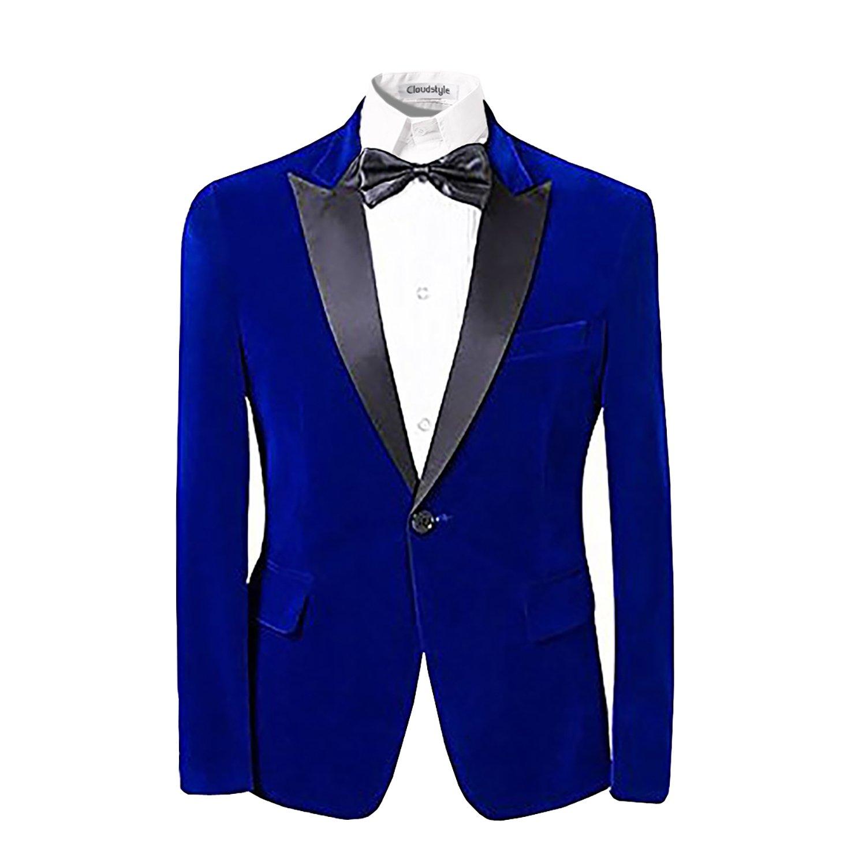 Mens Notched Lapel One-Button TUXEDO Casual Blazer Suit Slim Fit 2-piece Set Cloudstyle WT009BL1S