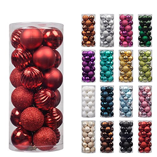 "KI Store 24ct Christmas Ball Ornaments Shatterproof Christmas Decorations Tree Balls for Holiday Wedding Party Decoration, Tree Ornaments Hooks included 2.36"" (60mm Red) (Outdoor Tree Ornaments Balls)"