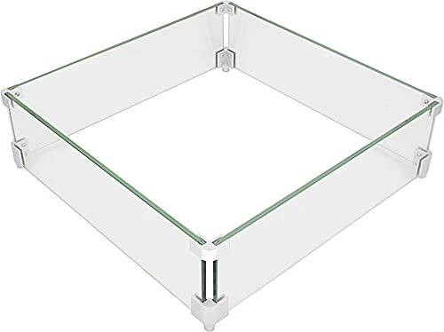 FixtureDisplays Fire Pit Wind Guard 18.5 x 18.5 x 6 Inch Fire Pit Wind Guard Square 8 mm Thickness Fire Pit Glass Wind Guard 999G