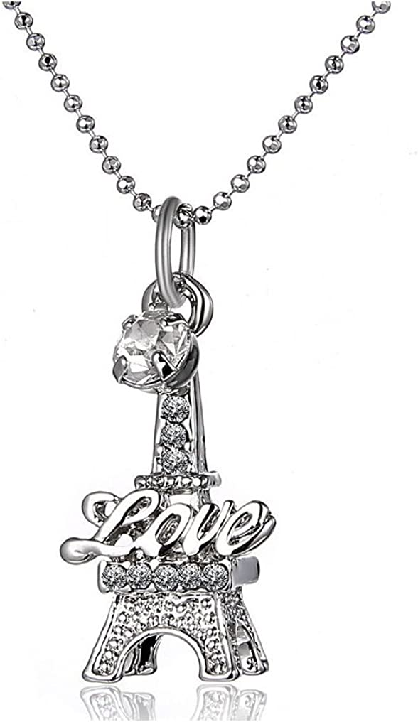 New Women Jewelry Fashion Necklaces Eiffel Tower Stone Chain Charm Necklace