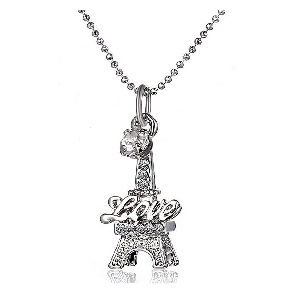 White Gold Plated Love Paris Eiffel Tower Crystal Pendant Chain Charm Necklace