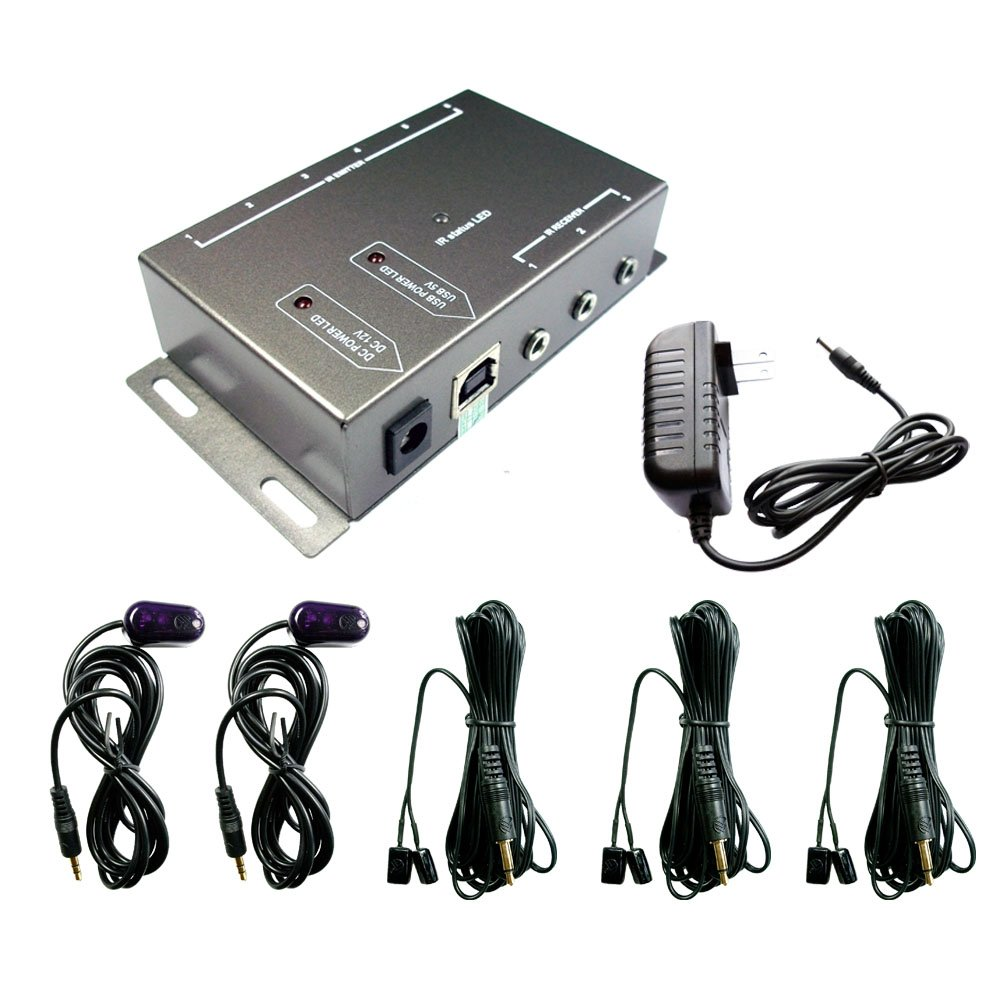 IR Repeater,IR Remote Control Extender,Infrared Repeater System (3 Dual Head ir emitter & 2 receivers)