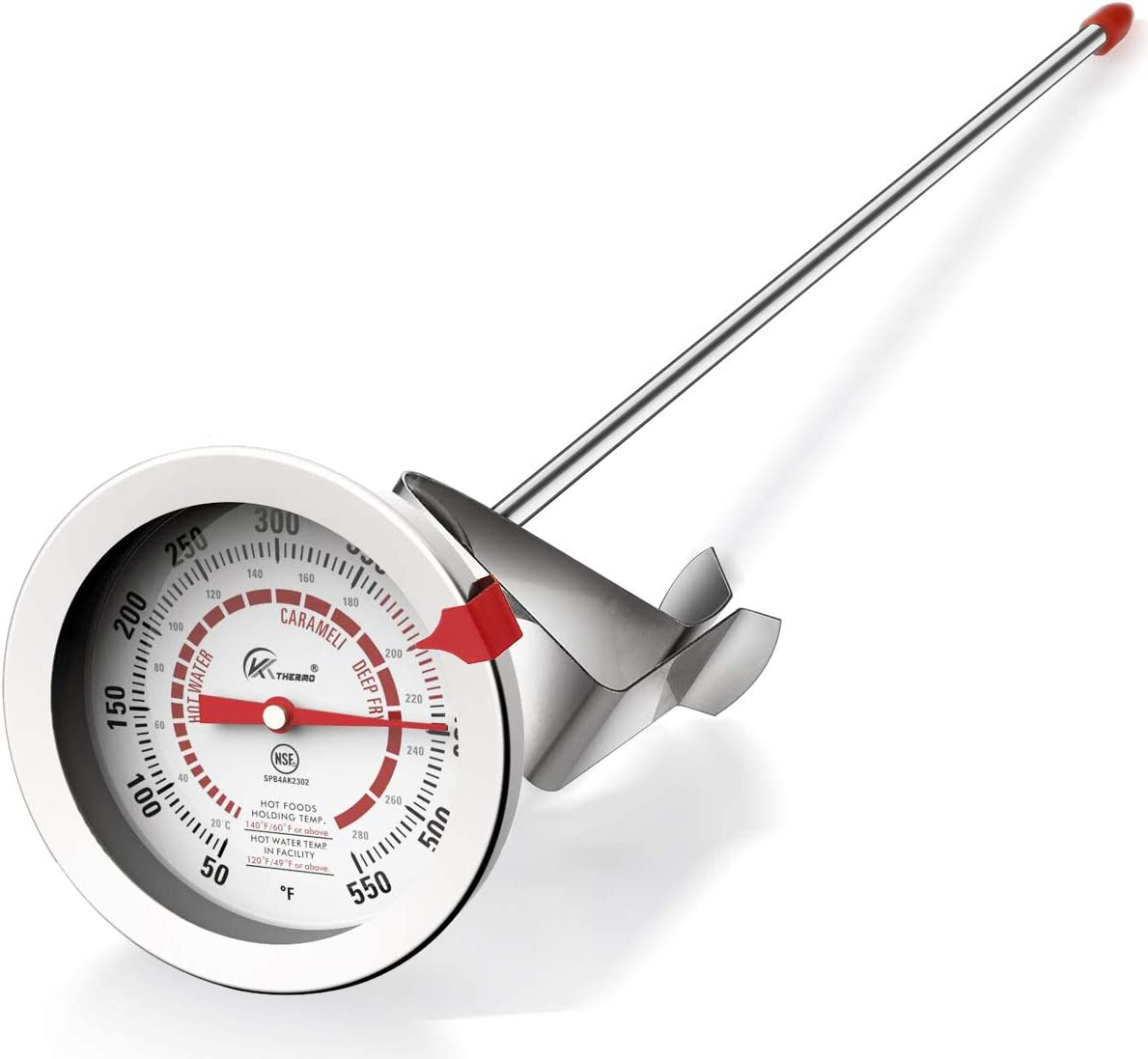 Candy/Deep Fry Thermometer with 12'' Stainless Steel Food Grade Probe and Clip, Fast Instant Read Large 2