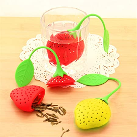 Cute Strawberry Tea Strainer Tea Bags Silicone loose-leaf Tea Infuser Filter