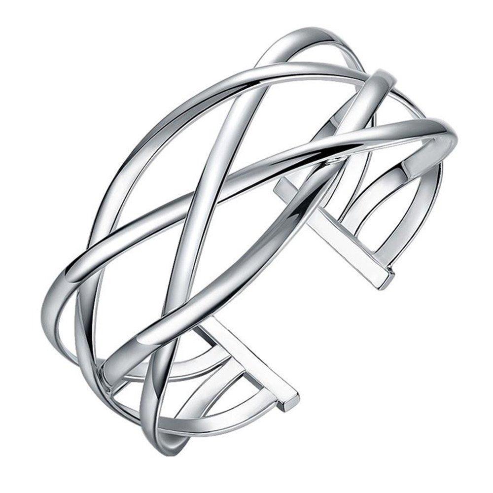 BODYA Silver Plated Bohemian Twist Rope Open Cuff Armlet Armband Bangle Wire Bracelet Gift JY0334