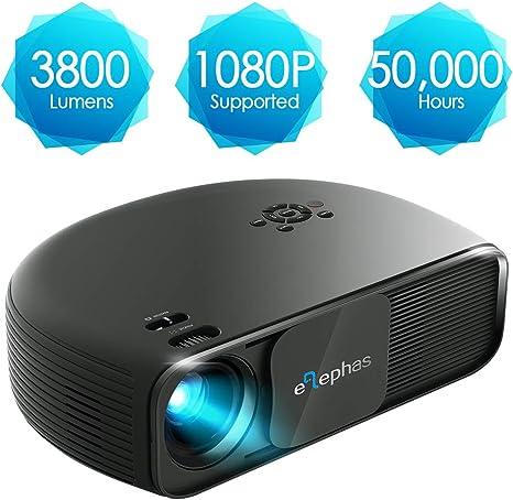 Proyector HD, Elephas 1080P vídeo proyector LCD con 3300 lúmenes ...