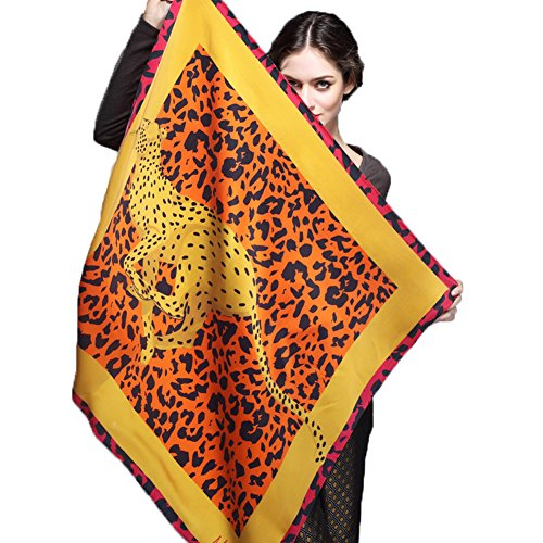 Satin Silk Large Square Scarf Women's 100% Mulberry Silk Scarf Spring Autumn Summer Yellow by YSW