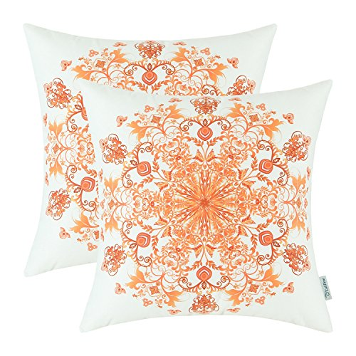 Pack 2 CaliTime Cushion Covers Throw Pillows Cases Shells, Vintage Mandala Floral, 20 X 20 Inches, Orange Red (Red Orange Pillows)