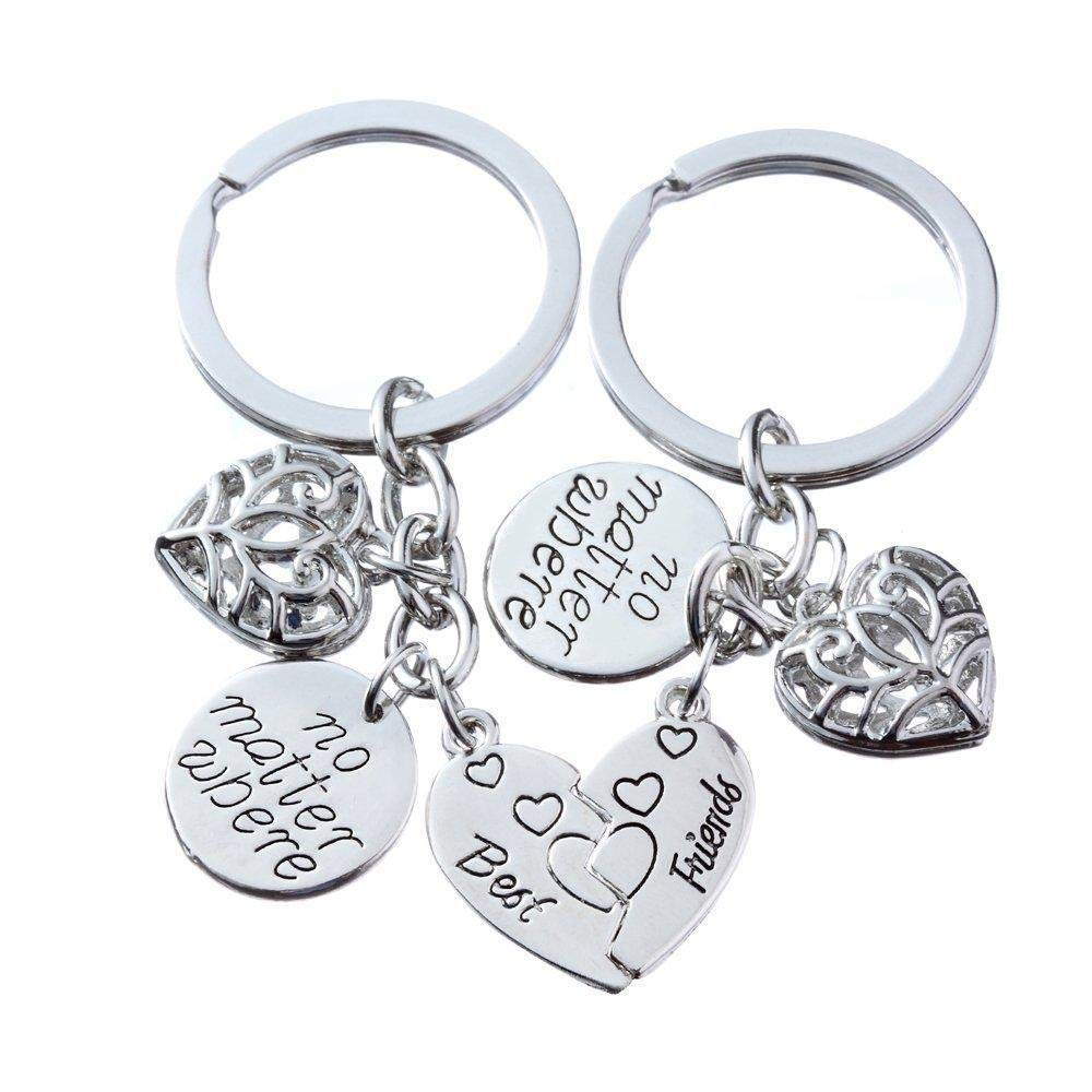 Oldlila 2pcs Best Friends Key Chain Ring Set Women Men No Matter Where Best Friends Forever Friendship Gift