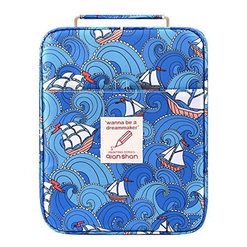 Pencil Case Holder Slot - Holds 202 Colored Pencils or 136 Gel Pens with Zipper Closure - Large Capacity Pen Organizer for Watercolor Pens or Markers - Perfect Gift for Artist Sailboat