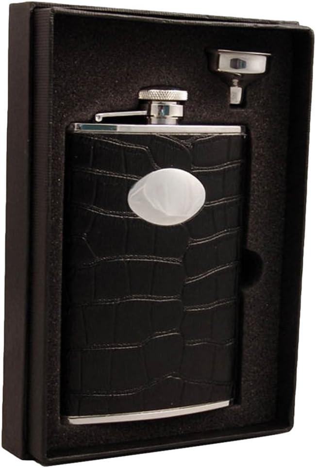 Amazon Com Visol Holiday Essential Ii Noir Black Crocodile Leather Liquor Flask Gift Set 8 Oz Silver Flasks