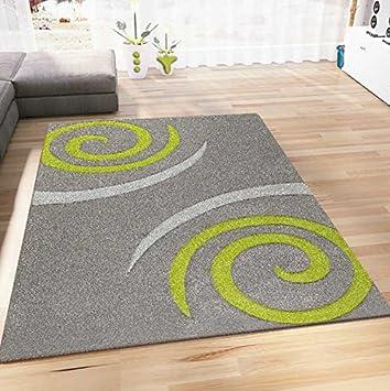 Vimoda Teppich Modern Wohnzimmer Teppiche Grun Grau Kreisel Muster
