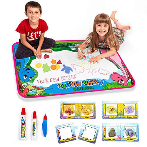 Visseto Aqua Doodle Mats + 8 Learning Aqua Doodle Cards | Kids Toys Aqua Mat | Reusable Large Water Drawing Mat + 3 Magic Pens [ No Mess Coloring For Toddlers ] Water Doodle Mat Gift for Girls Boys by VISSETO