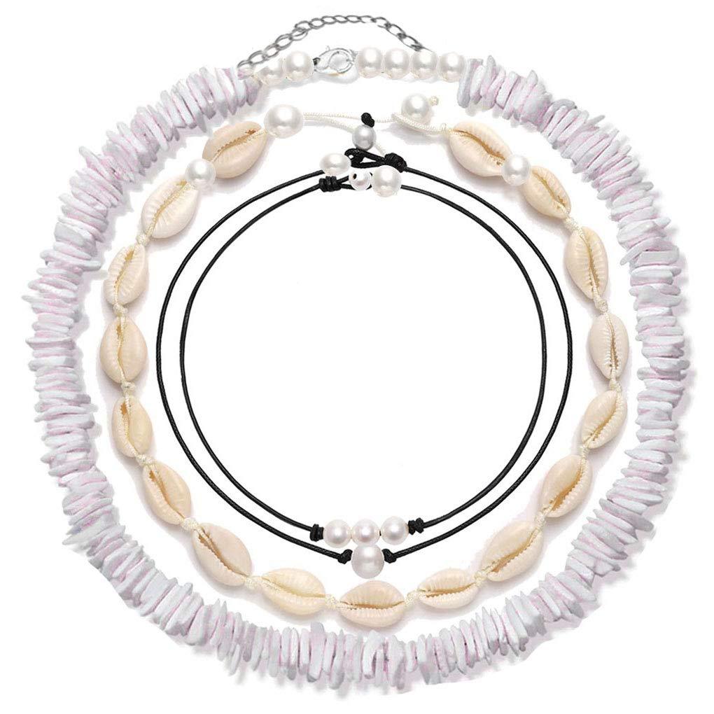 4 Pcs Shell Choker Necklace Puka Chips 14 16 18 inch Seashell Short Hawaiian Boho Summer Beach Bohemia Jewelry Set Hawaii Wakiki Cowrie Beads Cord Pearls Pendants for Women Girls Adjustable Necklaces by Gifytel