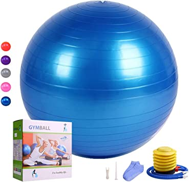 HEYIYI Yoga Ball for Fitness with Free Socks, Extra Thick Anti-Burst Exercise Ball Chair (65-85cm) Supports 2000lbs, Gym Heavy Stability Workout ...