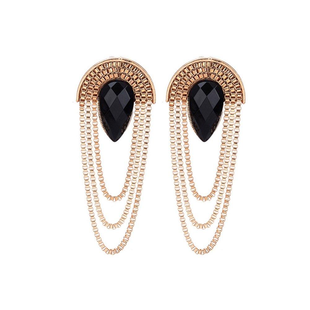 Topdo Women Girls Fashion Gold Long Metal Tassel Earrings Alloy Hanging Chain Fringe Dangle Drop Earrings