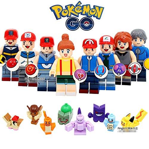 8pcs Pokemon Go Pikachu Charmander Bulbasaur Minifigures Building Block Kids Toy - Painted Unfinished Table