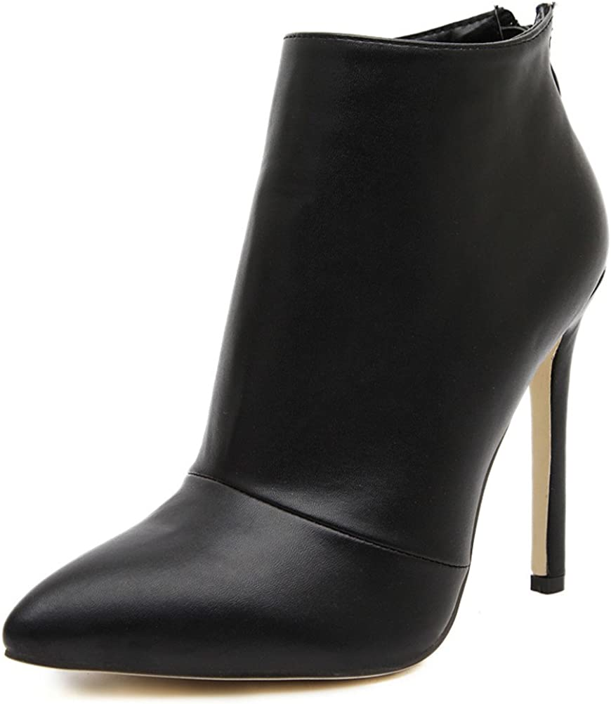 Details about  /Sexy Womens pu Leather pointed Toe high stiletto Heels party Ankle Boots Booties