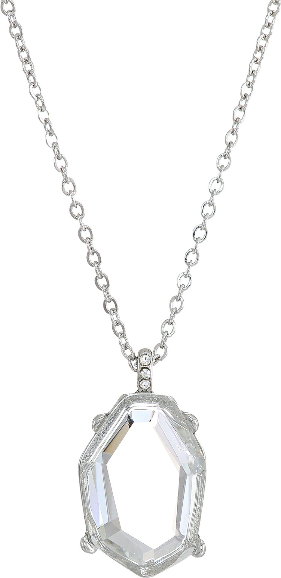 French Connection Womens Irregular Stone Pendant Necklace 18'' Crystal/Rhodium One Size