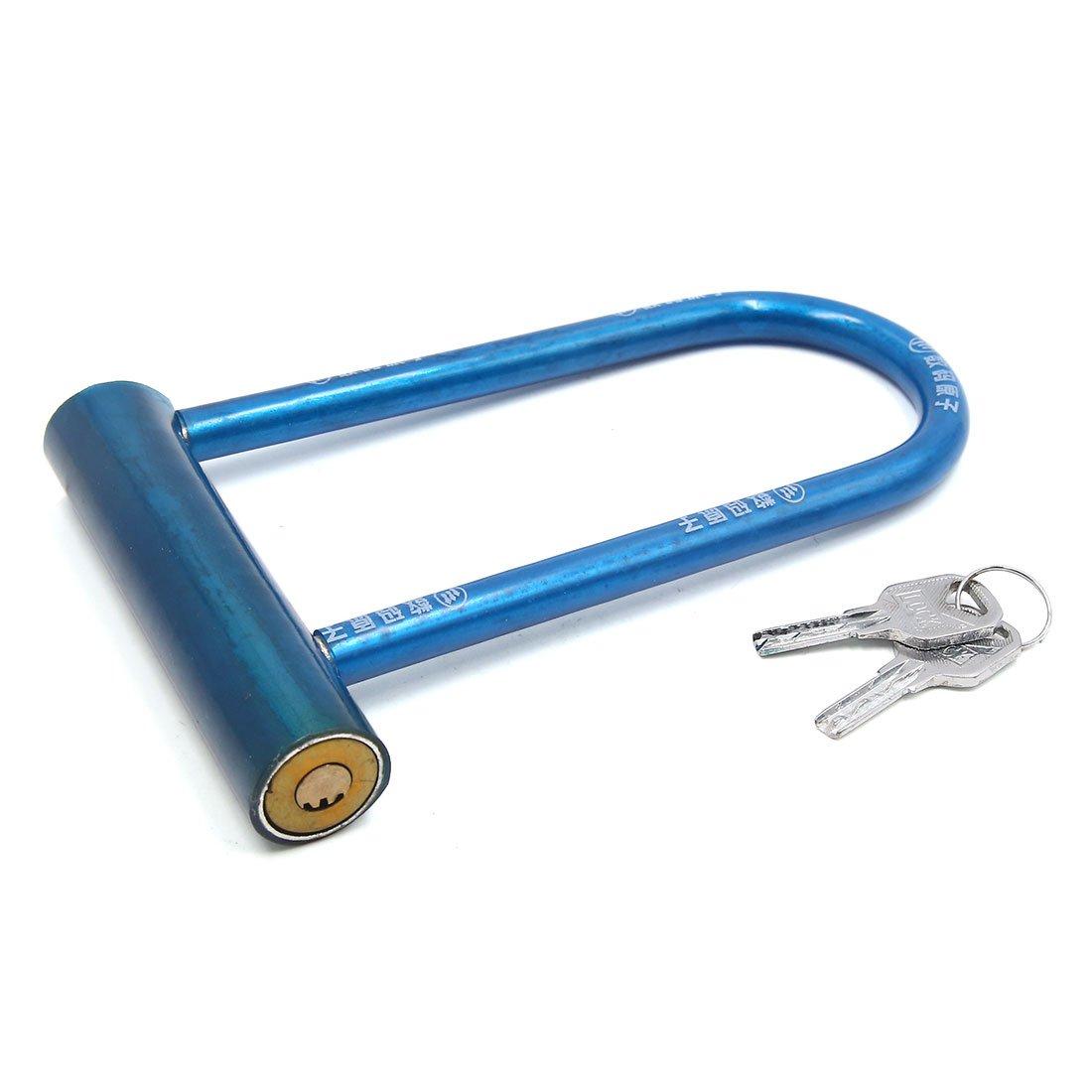 uxcell Blue Metal U Shape Bike Bicycle Cycling Anti Thief Security Lock with 2 Keys