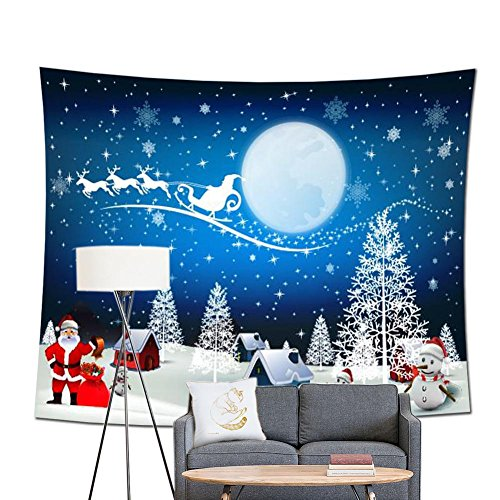 POPPAP Christmas Wall Decor Tapestry, With Winter Wonderland Santa Claus Elk Fly Moon Stars Snow Tree House Print Christmas Party Scene Setters Wall Decoration Background Accessory(60