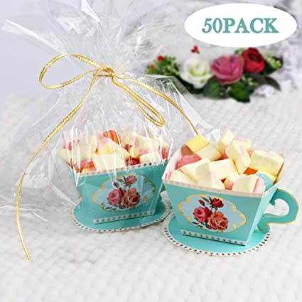 Amazon Com Aerwo 50pcs Teacups Candy Boxes Tea Party Birthday And