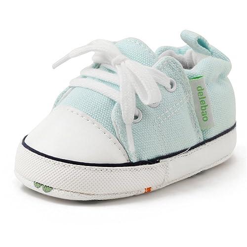 DELEBAO Zapatos Lona Bebé Zapatillas Bebe Primeros Pasos para Bebes Recien Nacidos Calzado Bebe con Suela