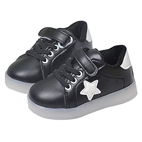 Zapatos con luces LED para bebés, de Originaltree. Unisex. Antideslizantes negro