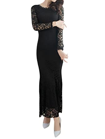 0ed74485371 uxcell Women Floral Lace Bodycon Maxi Dress Black S at Amazon ...