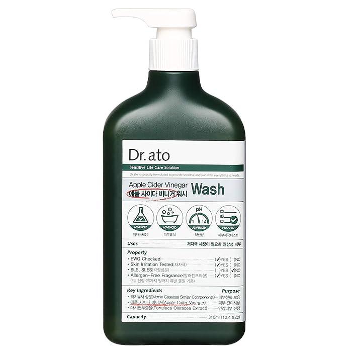 DR.ATO Apple Cider Vinegar Wash 10.5 fl.oz. (310ml) - pH5.5 Hypoallergenic Baby Body Cleanser with AHA in Apple | Skin and Eye Irritation Tested |All Safe Ingredients | Allegen-Free | Praben Free
