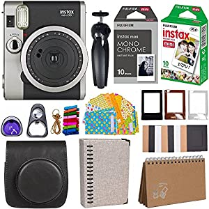 Fujifilm Instax Mini 90 Instant Camera + Fuji Instax Film (20 Sheets) + Giant Accessories Bundle(12 piece) by blkbrown90