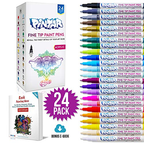PINTAR - (24- Pack) Fine Tip Paint Pens For Rock Painting Art - Acrylic Fine Point Pens for Wood, Glass, Metal and Ceramic - Water Resistant and Quick Drying Ink For Arts & Crafts
