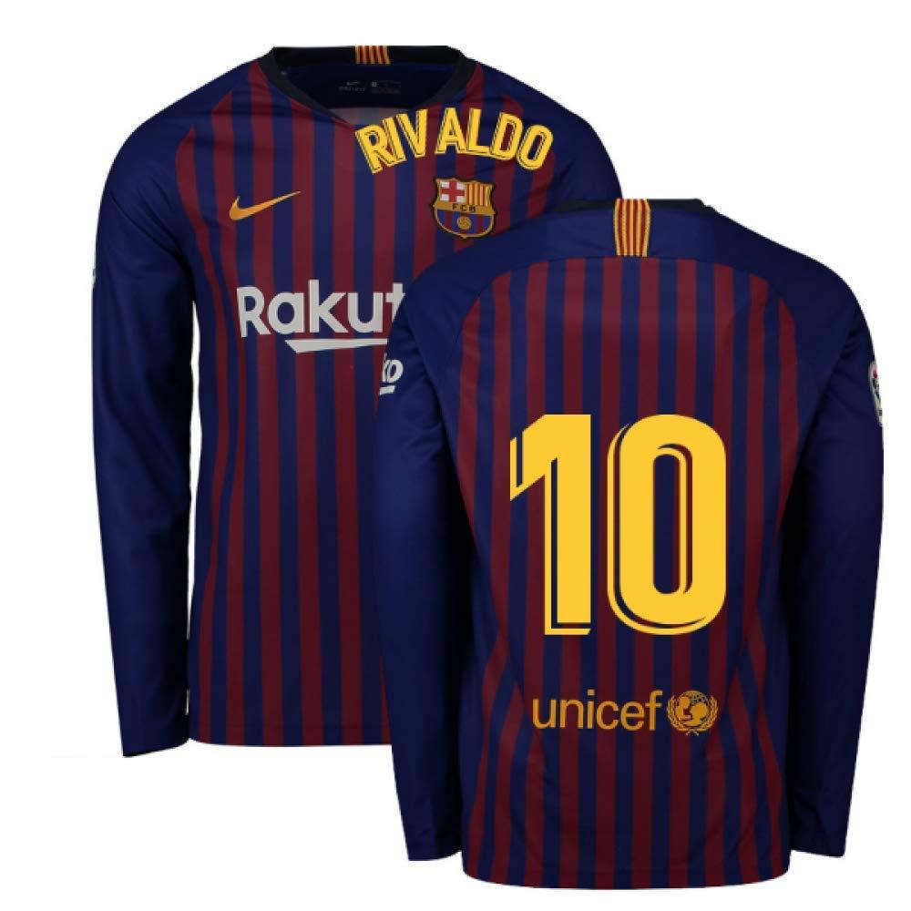 2018-2019 Barcelona Home Nike Long Sleeve Football Soccer T-Shirt Trikot (Rivaldo 10)