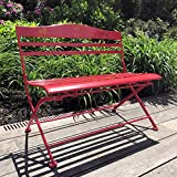 Whole House Worlds The Farmer's Market Children's Red Garden Bench, Folding, Slatted seat with Mushroom Decorated Back, 26 3/4 L x 15 3/4 W x 23 5/8 H Inches, Rust Resistant Powder Coated Iron, By