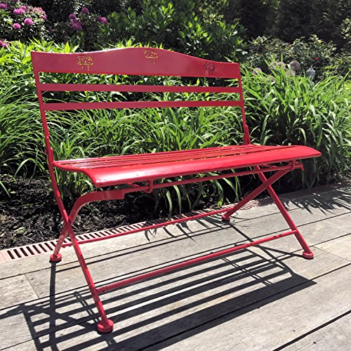 Whole House Worlds The Farmer's Market Children's Red Garden Bench, Folding, Slatted seat with Mushroom Decorated Back, 26 3/4 L x 15 3/4 W x 23 5/8 H Inches, Rust Resistant Powder Coated Iron, By by Whole House Worlds