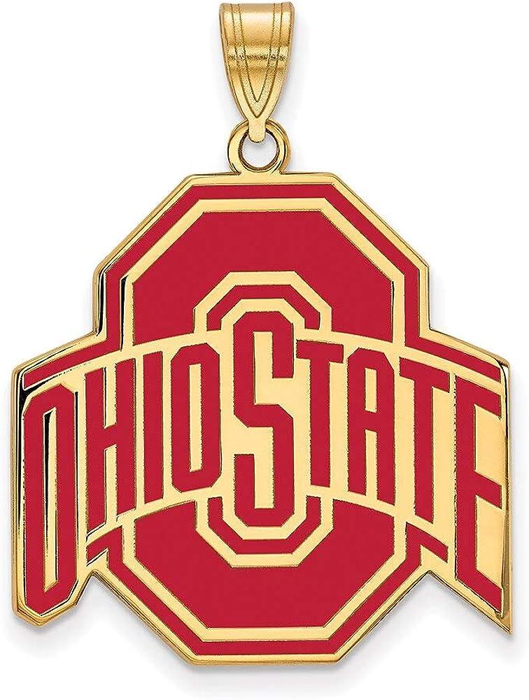 Lex /& Lu LogoArt Sterling Silver w//GP Ohio State University XL Enamel Pendant