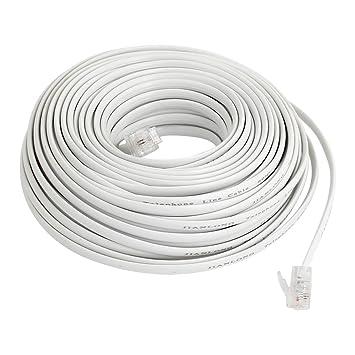 Blanco Flexible RJ11 6P2C Teléfono Extensión Cable 20M