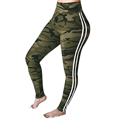 Women s Mid Waist Camouflage Striped Trousers Ladies Casual Drawstring Pants: Clothing