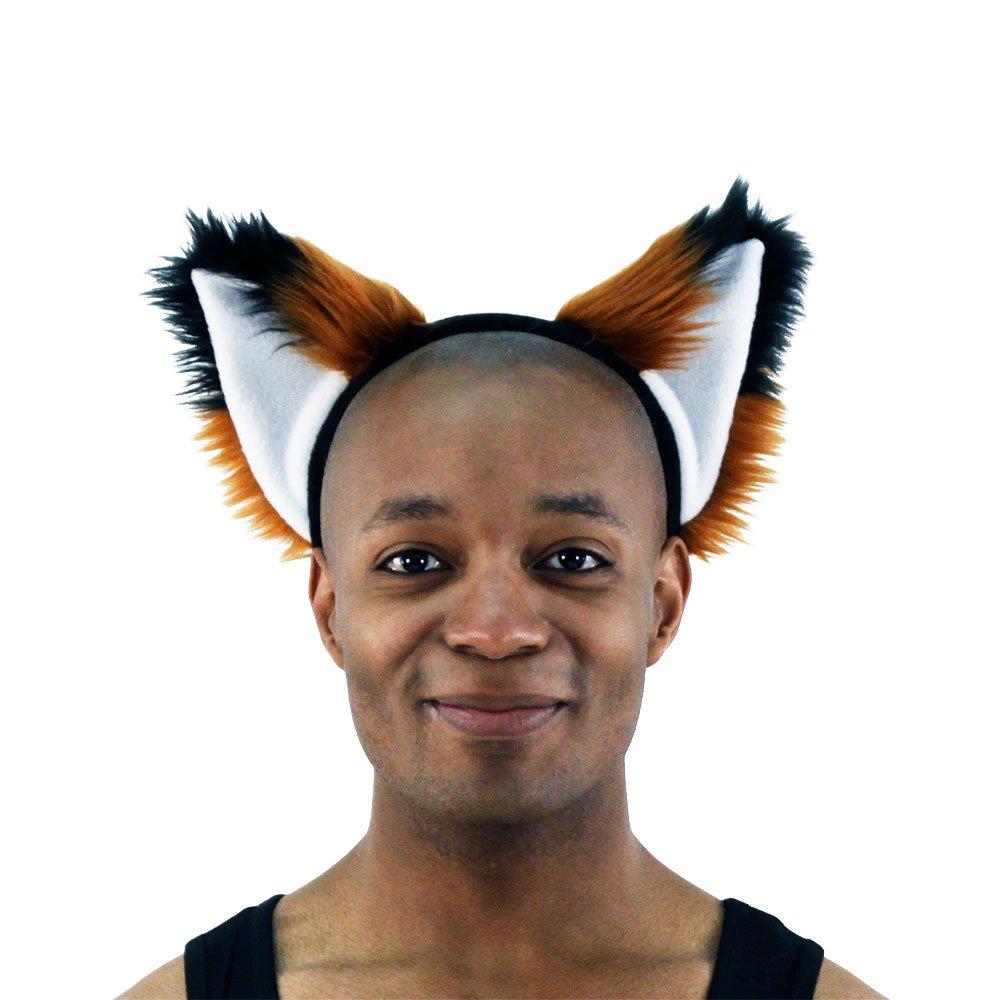 Pawstar Brown Furry Fox Ear Headband - Rust