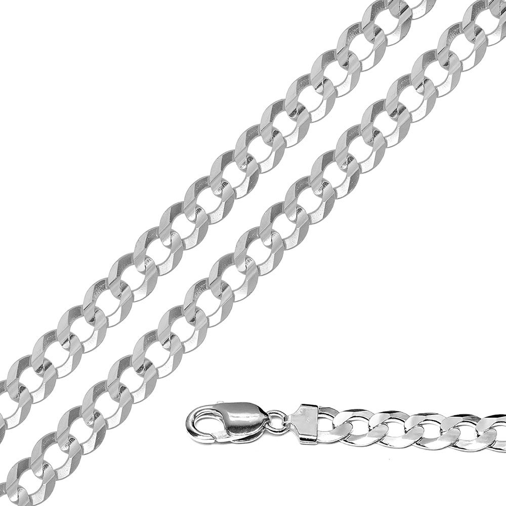 CloseoutWarehouse High Polished Sterling Silver Super Flat Curb 220 Chain 8.3mm