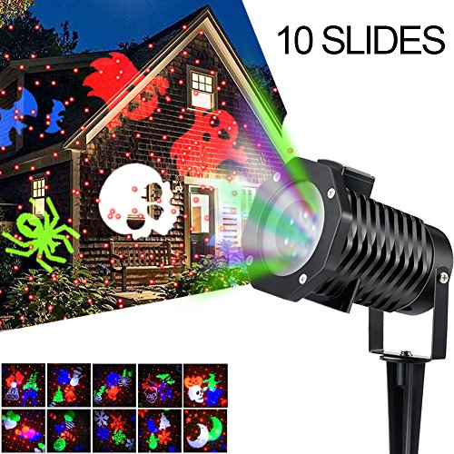 Christmas Laser Lights,[Latest-style]Ucharge Rotating Projection Led Lights Snowflake Spotlight, 10PCS Pattern Lens Xmas Led Projector Light Show landscape lights Waterproof for Wall Party, (Next New Moon On Halloween)