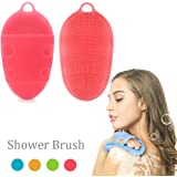 Pure Silicone Body Massage Brush Body Wash Bath Shower Tool, Soft Texture Anti-Bacterial Mildew-Free, Exfoliating Sensitive Dry Skin Spa Massage Scrubber Glove (1st Generation, Pink)